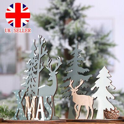 £2.39 • Buy Wooden Reindeer Decoration Ornament Christmas Tree Xmas Party Home Table Decor