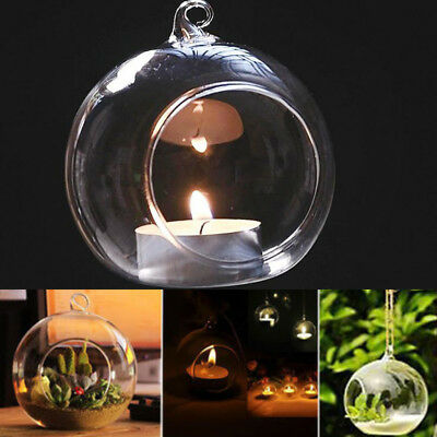 Glass Clear Open Mouth Bauble Round Candle Tea Light Holder Hanging Box Of 12 24 • 10.95£