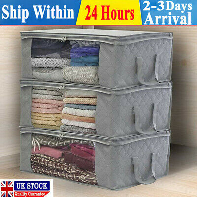 1/3PCS Underbed Clothes Storage Bags Ziped Organizer Wardrobe Cube Closet Boxes • 9.98£