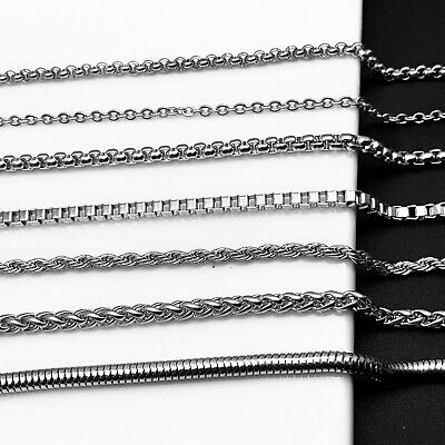 20-30  Unisex 316L Stainless Steel Necklace Curb Square Chain 2-5 Widths • 1.55£