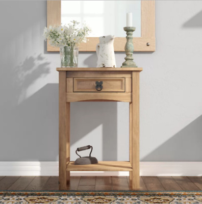 Rustic Small Console Table Drawer Solid Wood Hall Telephone Lamp Side End Table • 39.98£