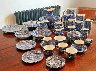 Collection Blue & White Calico Pottery Burleigh Heron Cross Staffordshire • 99.99£