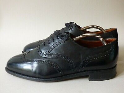 Men's Made In England Sanders Black Leather Brogue Shoes Uk 9.5 #65 Free Uk P+p • 29.99£