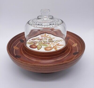 £49.99 • Buy Wooden Lazy Susan / Rotating Cheese Board With Glass Lid Ceramic Plate...
