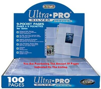 Trading Card A4 Sleeves  100 Ultra Pro Silver Series 9 Pocket Storage Pages  • 21.99£