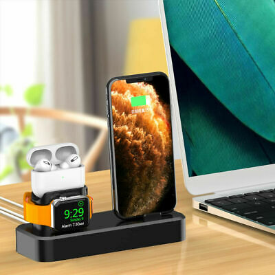 AU19.98 • Buy AU Silicone Charger Charging Dock Stand 3in1 For IWatch IPhone 12 Pro Max 11 X 8