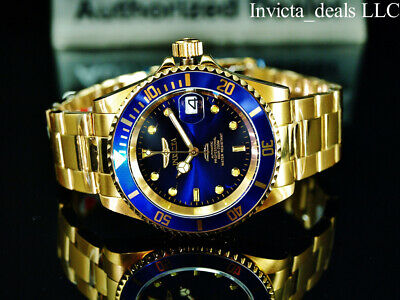 $ CDN97.43 • Buy Invicta Men's 40mm Pro Diver SUBMARINER AUTOMATIC BLUE DIAL Gold Tone SS Watch