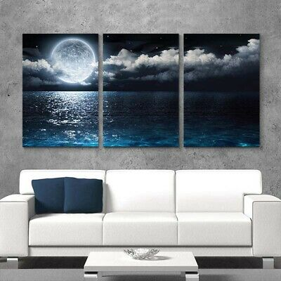 Moon Sea Night Landscape Canvas Painting Wall Art Poster Living Room Home Decor • 23.99£