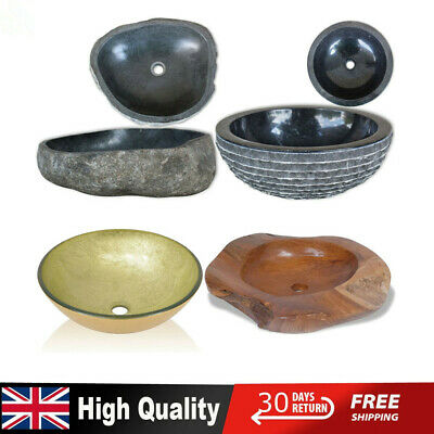 Bathroom Cloakroom Oval Wash Basin Sink Washing Bowl River Stone/Glass/Marble UK • 66.19£