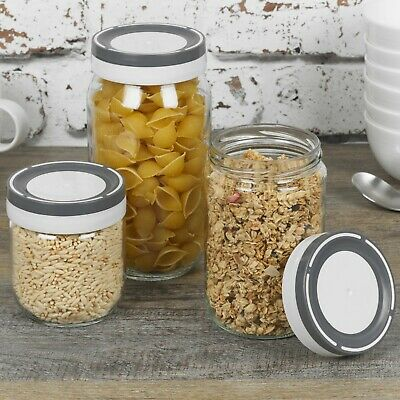 £8.49 • Buy 3 6 Pcs Glass Storage Jars Sets Food Preservation Canisters Screw Lid Pasta Rice