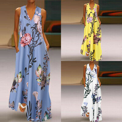 AU14.71 • Buy AU STOCK Women Summer Plus Size Sundress Flare Vintage Maxi Long Floral Dress