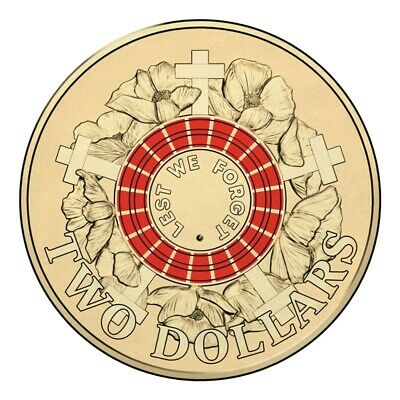 AU15.95 • Buy 2015 $2 Two Dollar Anzac Remembrance Red Lest We Forget Coin Uncirculated