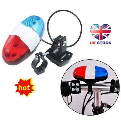 Cycling Bike Accessories Electric Horn 4 Sounds Bicycle Police Siren Lights UK. • 6.99£