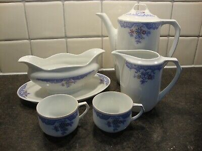 Vintage Schonwald Floral Design China Coffee Pot, Jug, Gravy/Sauce Boat And Cups • 3.99£