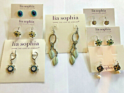 $ CDN111.73 • Buy Lot Of 7-Lia Sophia Multi-Colored Earrings Crystals & Faux Stones All Silver&NEW