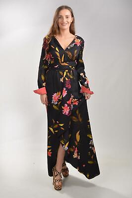 COAST Black Pink Mix Floral Maxi Dress Long Sleeve Cuff Front Split Evening Gown • 26.99£