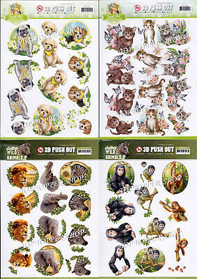 £1.25 • Buy Cats Dogs Birds Fish Wild Animals Die Cut Decoupage Choice Of 34 Push Out Sheets