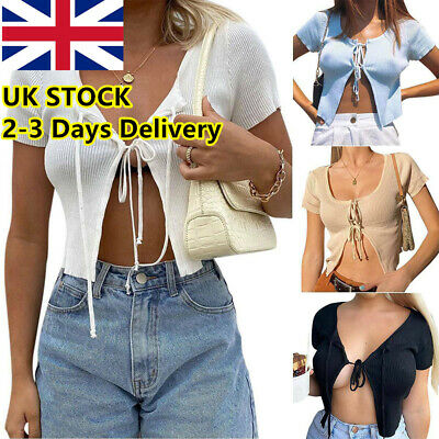 Women Lady Sexy Knit Open Front Tie Up Short Sleeve Cardigan Crop Tops Summer` • 8.50£