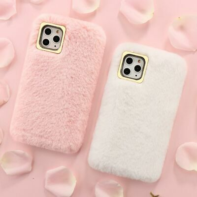 Plush Phone Case For IPhone 7 8 XR SE 11 12 Pro Comfy Faux Fur Soft Fluffy Cover • 4.69£