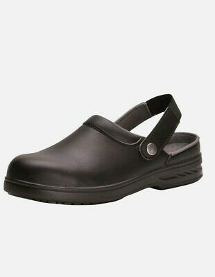Portwest Safety Clog Shoes Toe Cap Durable Food Medical Industry FW82 BLACK UK 6 • 19.99£