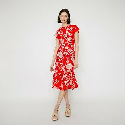 New Warehouse Red Floral Print Tie Back Midi Tea Dress Party Summer Look Uk 14 • 39.20£