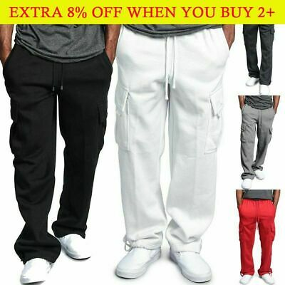 $15.77 • Buy G-Style Mens Heavy Weight Fleece Cargo Pocket Sweat Pants Jogger Casual Trousers
