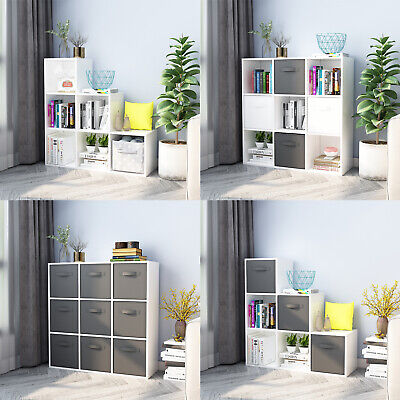 6,9 Cube Bookcase Wooden Shelving Display Shelf Storage Unit Home Door Organizer • 68.99£