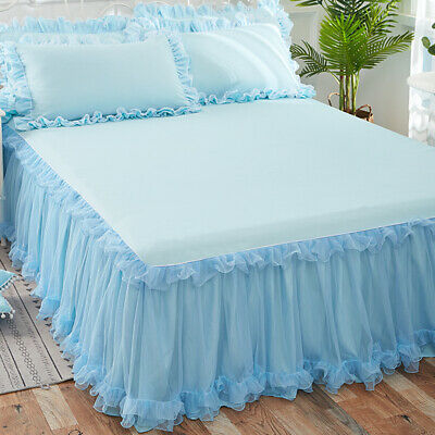 3PCS Bedspread Pillowcase Set Lace Ruffle Bed Skirt Pillow Cover Bedding Home • 35.14£