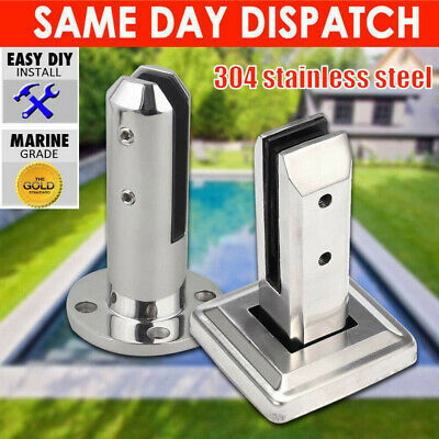 Stainless Steel Glass Spigots Panels Pool Fence Stair Bracket Balustrade Clamp • 14.39£