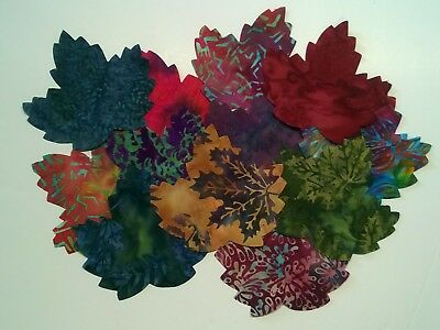Batik Leaves Fabric Scraps Pack Remnants Quilting Patchwork Bundles 100% Cotton • 3.46£