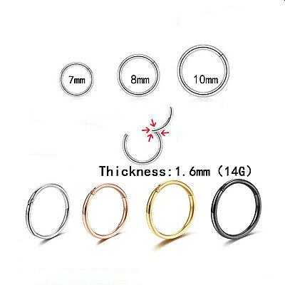 AU4.32 • Buy Surgical Steel Nose Ring Clicker Hinge Ear Helix Tragus Ring Hoop 14G 1.6mm