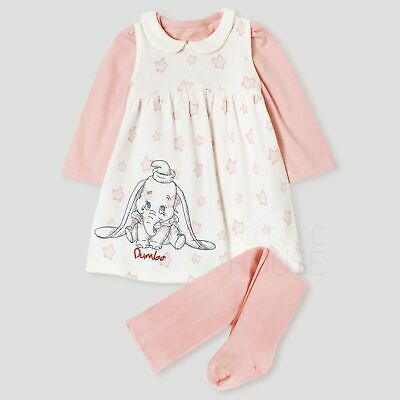 New Baby Girls Dumbo Dress Tights Top Outfit Tiny Newborn 0-3-6-9-12 Mnths • 8.99£