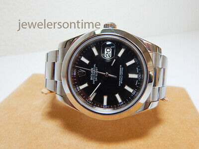 $ CDN10838.66 • Buy Rolex SS Datejust II 41mm Ref 116300 With Card Black Sticks, Oyster Band