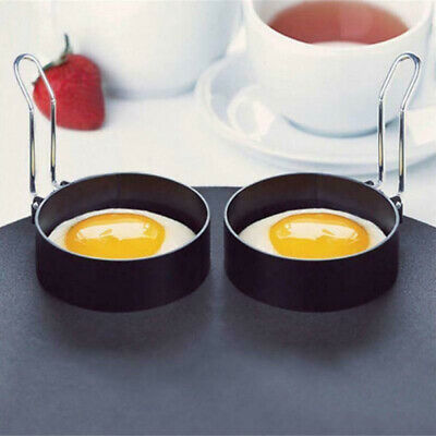 Non Stick Metal Egg Frying Rings Perfect Circle Round Fried Poach Mould Handle • 5.75£