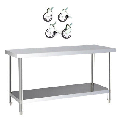£143.94 • Buy Commercial Stainless Steel Table Catering Prep Work Bench Kitchen Top And Wheels