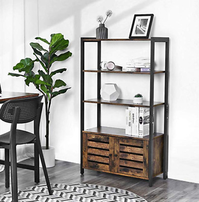 £98.80 • Buy Vintage Industrial Bookcase Tall Side Cabinet Storage Shelving Unit Rustic Metal