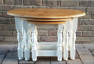 Quality Shabby Chic Solid Pine Nest Of 3 Tables • 85£