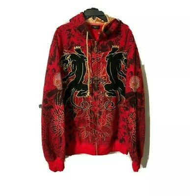 Red Ed Hardy Skull Hoodie, Dimonte And Black Panther Detailing • 250£