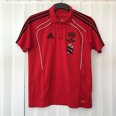 "Adidas LIVERPOOL FC 2010 Football Club Men's Polo T-Shirt Size MEDIUM 40/42"" Red • 14.50£"