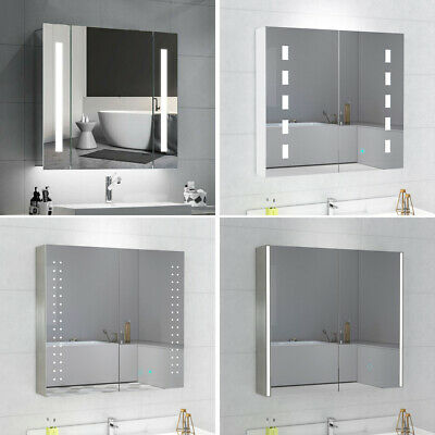 Led Illuminated Bathroom Mirrored Cabinet With Touch Sensor Wall Hung Cupboard • 110.99£