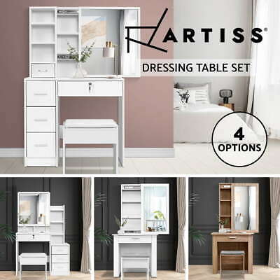 AU150.95 • Buy 【EXTRA20%OFF】Artiss Dressing Table Mirror Stool Jewellery Makeup Storage Cabinet