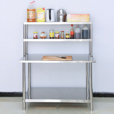 Set Of Commercial Kitchen Over Shelf Stainless Steel Prep Table Top 900mm-1800mm • 145.95£