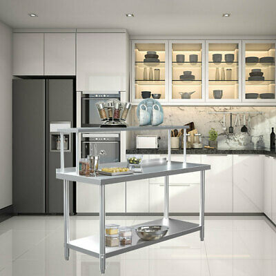 Stainless Commercial Prep Table With Single Overshelf Dissecting Work Top Shelf • 159.95£