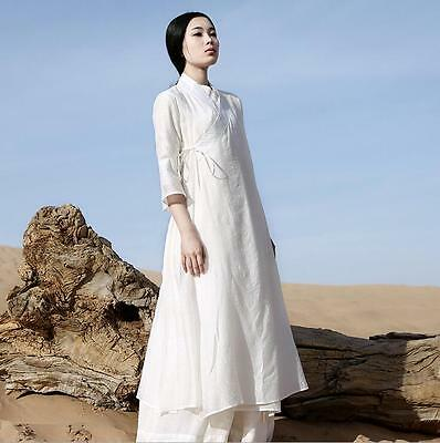 AU43.02 • Buy Women Casual Retro Chinese Loose Cotton Maxi Linen Long White Dress Gown Robe