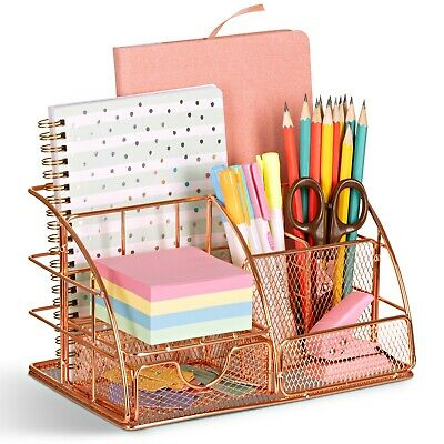AU24.95 • Buy Rose Gold Metal Desk Organiser With Drawer, Pen And Document Holder For Women