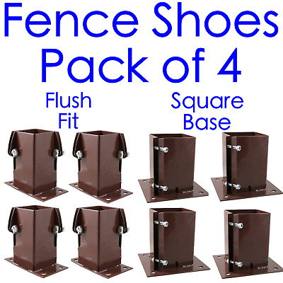 £34.25 • Buy Fence Post Shoe Bolt Down **PACK 4** 75mm/3  Or 100mm/4  Garden Post RED/BROWN