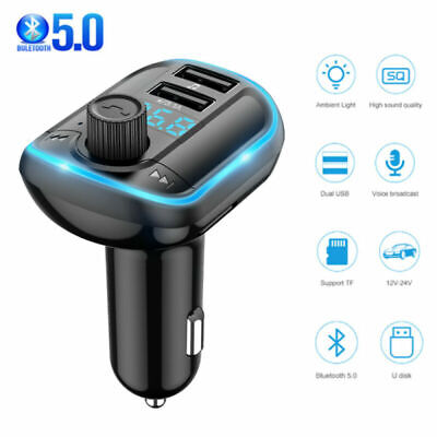 AU11.68 • Buy Bluetooth Car FM Transmitter MP3 Player Radio Wireless Adapter Kit 2 USB Charger