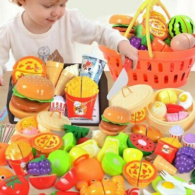 £13.99 • Buy 60pcs Kids Toy Pretend Role Play Kitchen Pizza Food Cutting Sets Children Gift
