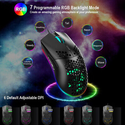 AU21.21 • Buy Lightweight Gaming Mouse RGB Backlit 6400 DPI Honeycomb Shell Mouse For PC PS4