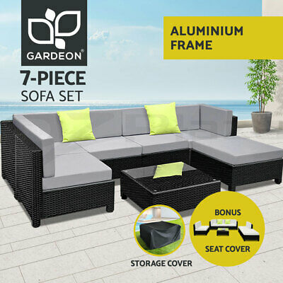 AU1299.90 • Buy Gardeon Outdoor Sofa Set 7pc Lounge Setting Couch Table Storage Cover Cushion